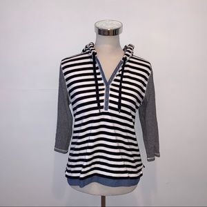 Lauren Ralph Lauren Striped Hooded Sweatshirt L